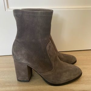 Saks Fifth Avenue Grey Suede Ankle Booties